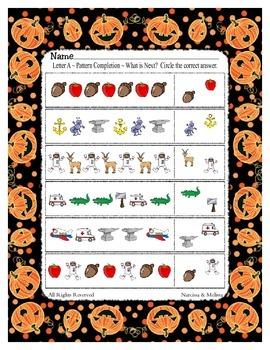 FREEBIE ~ Halloween / October Letter A Patterning Work Sheet ~ 3 Options