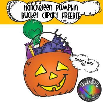 FREEBIE- Halloween Pumpkin Bucket with Candy Clip Art