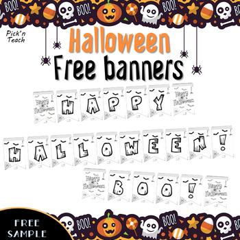 "FREE ""Happy Halloween"" & ""Boo"" banners"