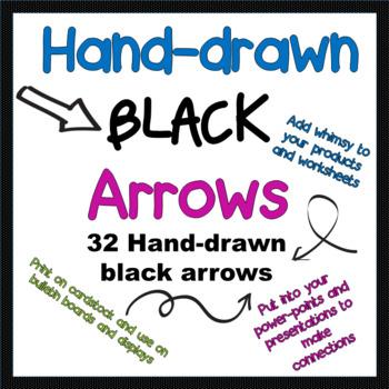 FREEBIE!!! Hand-drawn black arrow clip art- 32 images
