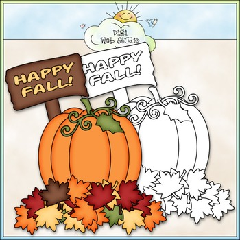 FREEBIE Happy Fall Pumpkin Clip Art - Autumn Clip Art - Fall - CU Clip Art & B&W