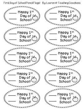 FREEBIE - Happy First Day of School Pencil Flags