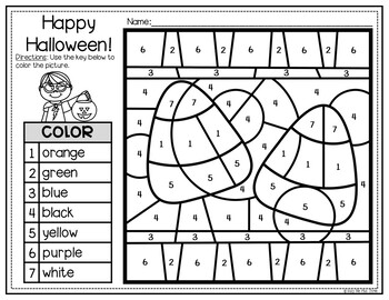 Halloween Activities Color By Number And Writing Pages Freebie Tpt
