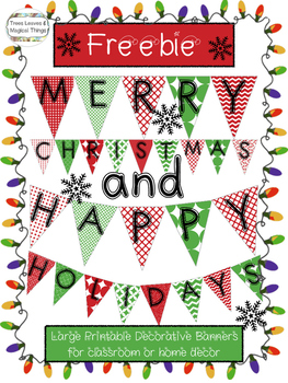 photograph about Merry Christmas Banner Printable identify FREEBIE: Content Vacations and Merry Xmas Clroom Banner