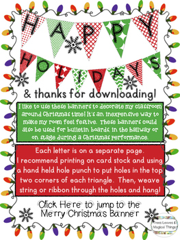 FREEBIE: Happy Holidays and Merry Christmas Classroom Banner