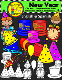 FREEBIE Happy New Year Clipart Digital Images FREE English and Spanish Clips