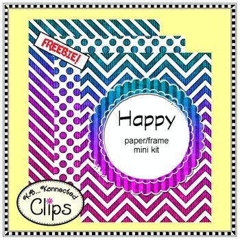 FREEBIE! Happy - Paper/Frame Mini Kit