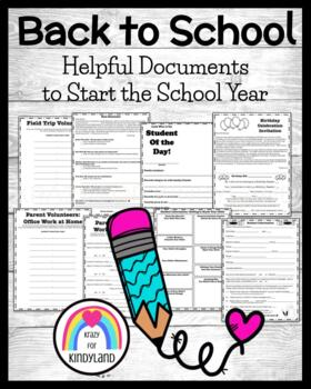 FREEBIE: Helpful Documents to Start the School Year (Open House, Etc.)