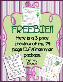 FREEBIE! Here is a 3 page preview of my 74 page ELA/Grammar package!!!