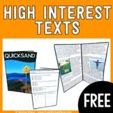 FREEBIE - High-Interest Text - Quicksand - Reading Compreh