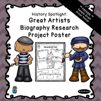 FREEBIE - History Biography Research Poster | Great Artists - Leonardo da Vinci