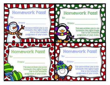 FREEBIE- Holiday Homework Passes