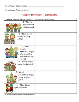 FREEBIE!  Holiday Interview Elementary to Develop Expressive Language Skills