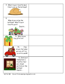 FREEBIE!  Holiday Interview Elementary to Develop Expressive Language Skills