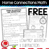 FREEBIE Home Connections Math: Low-Prep Addition & Subtraction