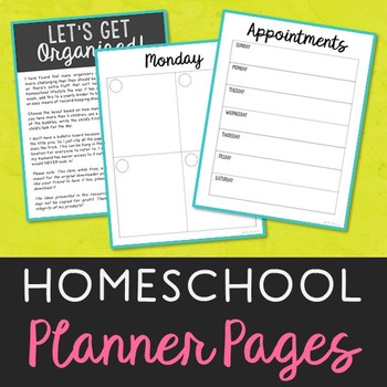 FREEBIE! Homeschool Planner Pages for Easy Weekly Organization