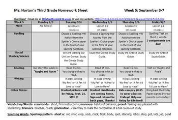 FREEBIE- Homework Sheet