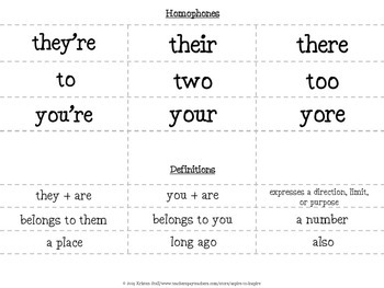 FREEBIE Homophone Foldable Books