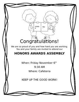 Freebie honors awards ceremony invitation by mighty minds tpt freebie honors awards ceremony invitation stopboris Choice Image