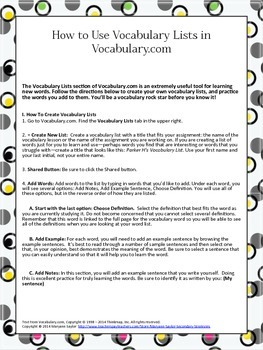 FREEBIE: How To Use Vocabulary.com Vocabulary Lists