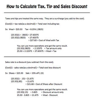 FREEBIE - How to Calculate Tax, Tip and Sales Discount - Cheat Sheet