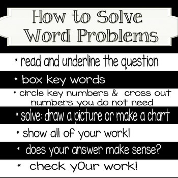 FREEBIE: How to solve math word problems poster