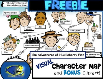 "FREEBIE ""Huck Finn"" Visual Character Map (With BONUS Clip-Art!)"