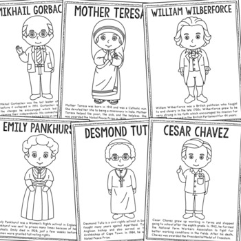 FREEBIE! Human Rights Leaders Biography Coloring Pages, Easy History Crafts