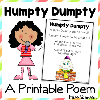 image relating to Printable Nursery Rhyme identified as Humpty Dumpty Nursery Rhyme Printable Poem