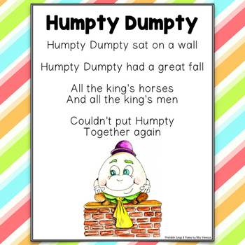 image about Humpty Dumpty Printable called Humpty Dumpty Nursery Rhyme Printable Poem