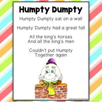 Humpty Dumpty Poem Printable Nursery Rhyme by Miss Vanessa   TpT