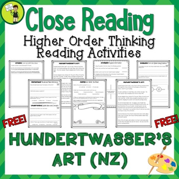 FREE Hundertwasser's Art Close Reading Text with Higher Order Thinking NZ