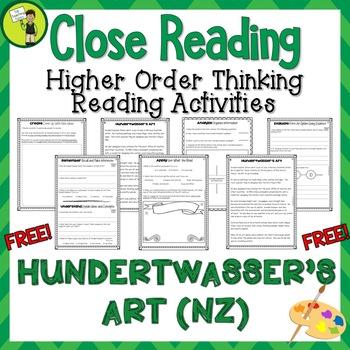 FREE Hundertwasser's Art Close Reading Text with Higher Order Thinking NZ