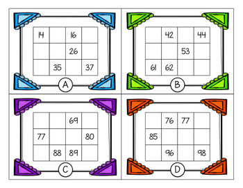 FREEBIE - Hundreds Chart Fill-In Task Cards