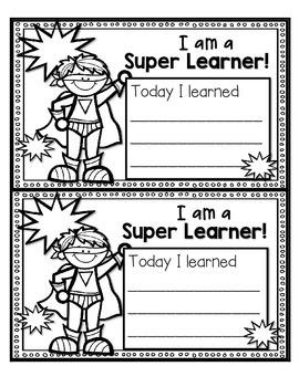 FREEBIE--I Am a Super Learner!--Accountability Response for K-2
