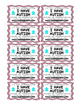 FREEBIE - I Have Autism - Printable Cards for Parents and Etc.