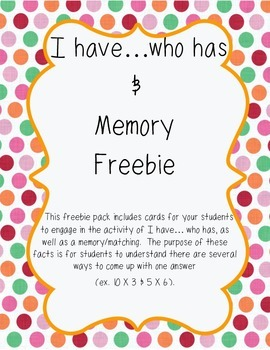 FREEBIE: I Have, Who Has and Memory