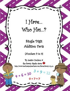 FREEBIE I Have...Who Has...?  Single Digit Addition Facts (Numbers 0 to 9)