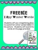 FREEBIE: I Spy Winter Words
