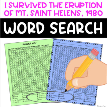 Word Search for I Survived the Eruption of Mount St. Helens, 1980