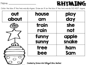Freebie I Can Climb I Can Rhyme March Birthday Rhyming Words