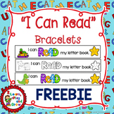 "FREEBIE ""I can read"" letter book bracelets -  4 designs Color & Blackline"
