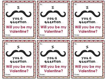 FREEBIE - I mustache you a question...Will you be my Valentine? cards