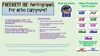 """FREEBIE! """"IRE"""" Photographs for Articulation Carryover"""