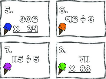 FREEBIE Ice Cream Cone Multiplication and Division Task Cards