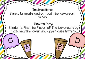 FREEBIE Ice-Cream Lower and Upper Case Letter Match Game