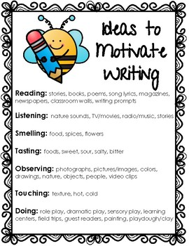 FREEBIE - Ideas to Motivate Writing