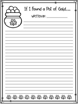 FREEBIE! If I Found a Pot of Gold Writing Prompt