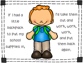 FREEBIE: If I had a little backpack...a story to teach functions of school items