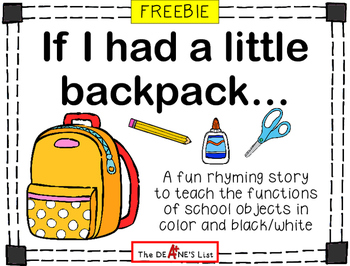 FREEBIE: If I had a little backpack...a story to teach fun